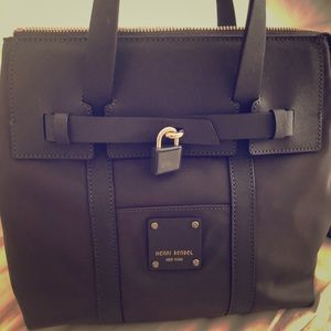 Henri Bendel mini grey nylon backpack used once